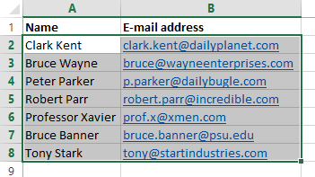 Select the names and addresses in Excel
