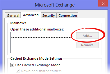 Adding an additional Exchange mailbox greyed out for non-default Exchange accounts.