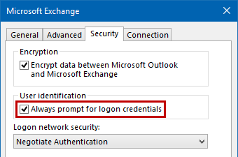 Exchange - Always prompt for logon credentials