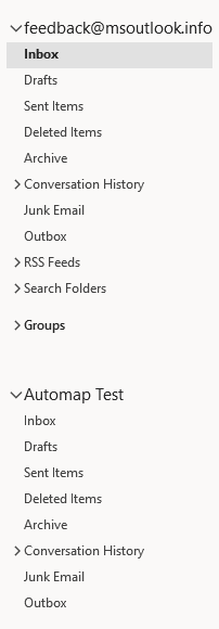 Folder list with an auto-mapped mailbox.