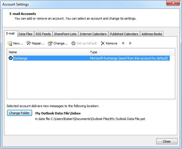 Set pst-file as default delivery for Exchange account
