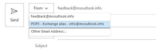 Exchange account with the option to send as one of its alias addresses via a dummy POP3 account.