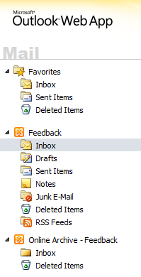 Exchange Archive in Outlook Web App (OWA)
