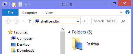 Open the Send To folder by typing shell:sendto in the Address Bar of File Explorer.