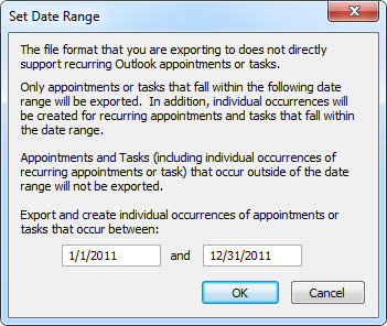 Export Calendar to Excel - Set Date Range