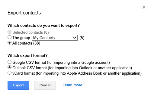 Exporting your Gmail Contacts to a CSV-file which Outlook can import.