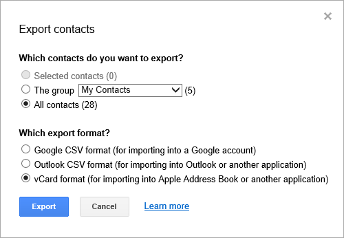 Gmail - Export Contacts - vCard format (for importing into Apple Address Book or another application)