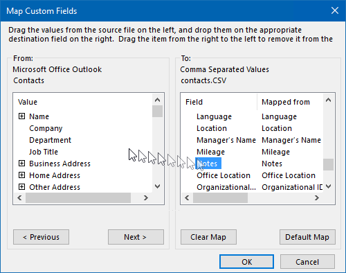 Export Contacts - Map Custom Fields dialog - Remove the Notes field