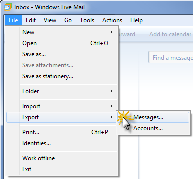To see the File menu in Windows Live Mail on Windows XP, press ALT on your keyboard.