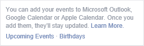 Facebook - Export Event and Birthdays