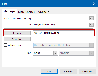 Search for both /O= and @company.com to find all internally sent emails.
