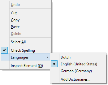 Switching between spellcheck languages in Firefox.