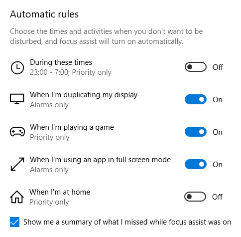 Focus Assist - Automatic Rules