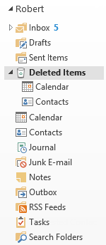 Folder List Navigation - Deleted Calendar and Contacts folders are being shown