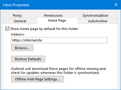 The Home Page feature can be re-enabled again via the Registry.