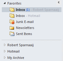 Keep your mailboxes collapsed by adding its Inbox to the Favorites list.