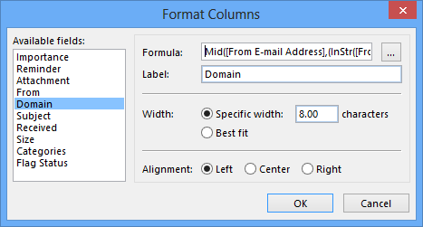You can customize the formula afterwards via Format Columns.