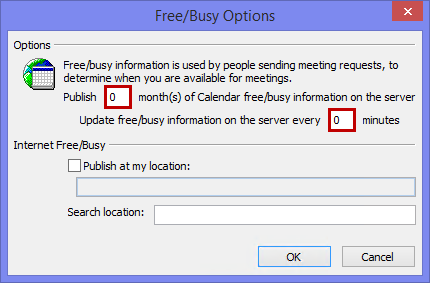 Disable Free/Busy Publishing to prevent legacy clients from looking up your availability.