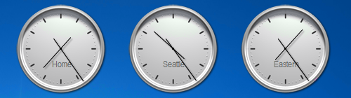 Multiple Windows Gadget Clocks with each another time zone.