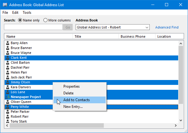 Updated Address Book Outlook 2010