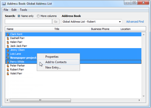 Via a right click, you can quickly add contacts from the Exchange Global Address List to your own Contacts folder (click on image to enlarge).