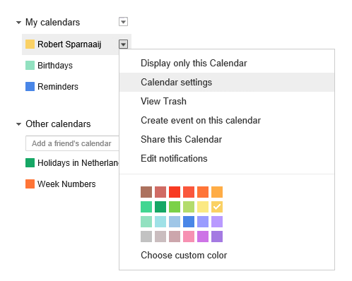 Opening the Calendar Settings page in Gmail.