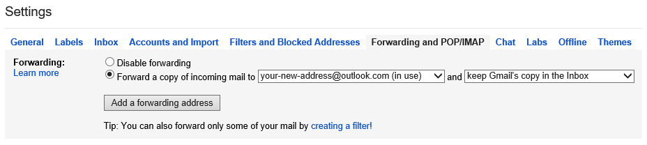 By configuring Gmail to forward all your emails to your @outlook.com address, you don't have to worry about missing any emails that are still sent to your Gmail address.