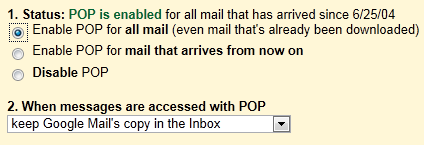 Gmail - Enable POP for all mail (even that's already been downlaoded)