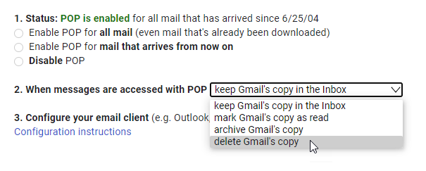 POP3 option in Gmail to leave a copy on the server.