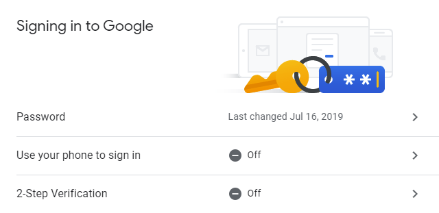 Google Account Security - Currently 2-Step Verification is off.