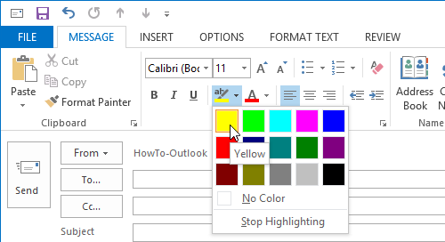 Select a text highlight color