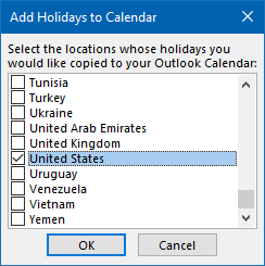 When you have an updated holidays file (.hol), you can double click on it to directly open it with Outlook and select which holidays to import.