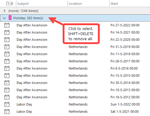 Deleting all Holidays at once is easy via a By Category sorted view.