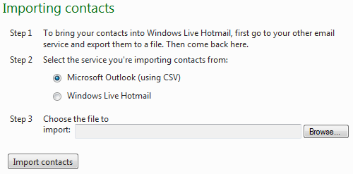 Importing contacts from Outlook into Live Hotmail