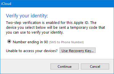 iCloud Control Panel Two-Step Verification prompt.