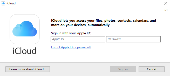 iCloud - Sign In Screen (click on image to enlarge)