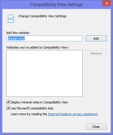 Add domain hosting OWA to your Compaibility View list in Internet Explorer 11.