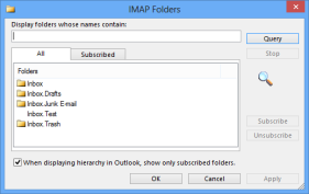 This IMAP mailbox can be rooted to the Inbox folder (click on image to enlarge).