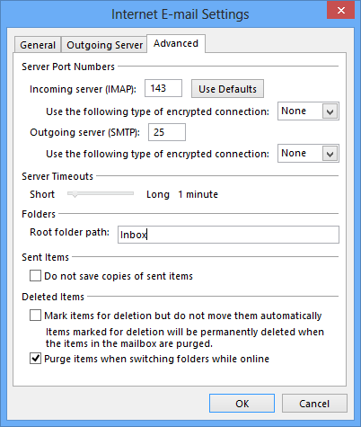 Setting the Sent Items folder for IMAP accounts in Outlook 2013 or