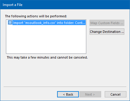 Import a File - CSV - The following actions will be performed - CSV not selected