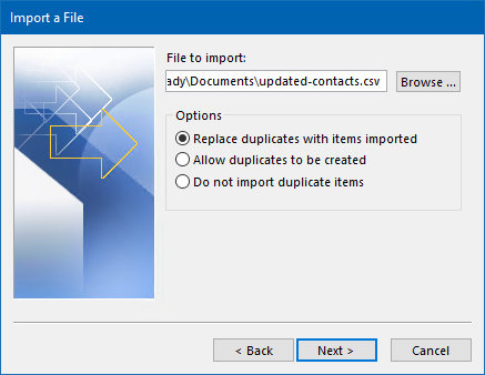 Upon importing your updated contacts, make sure you set the option to replace duplicates. Missing or non-modified fields won't be affected.