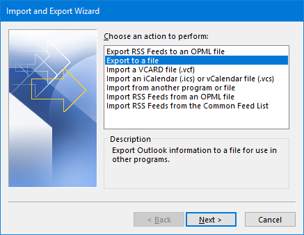 Import and Export Wizard - Export to a file