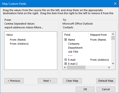 Map your fields from the CSV-file to the correct Contact fields in Outlook.