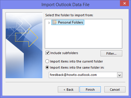 Importing Personal Folders (pst-file) including subfolders into new account.