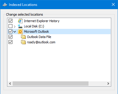 Search Options in Outlook 2010