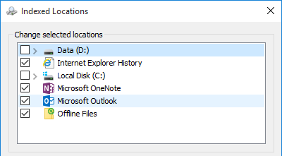 Outlook selected as an Indexed Location in Indexing Options.