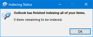 Indexing Status of Outlook.