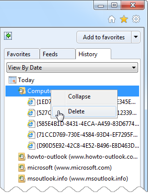 "Sorting your Internet Explorer History as ""View by Date"" groups OSC entries together and can be easily removed if needed."