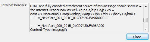 "The ""Internet headers"" field showing the last part of the HTML part of the message source and the start of the attachment part."