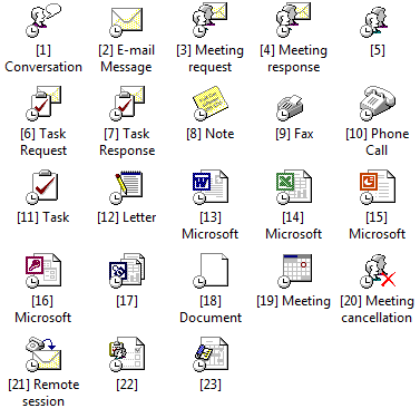Overview of the large Journal icons in Outlook.